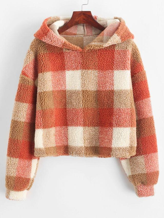 WOMEN Drop Shoulder Plaid Teddy Hoodie - Multi S