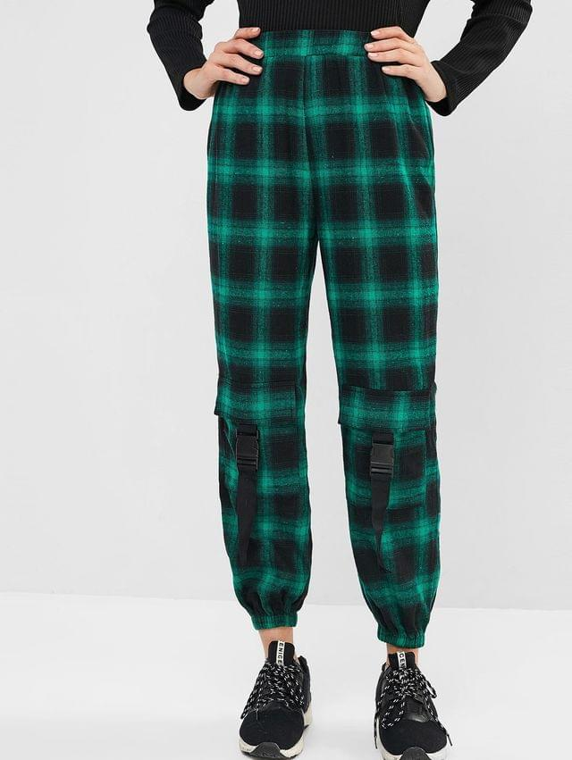 WOMEN Flannel Plaid Buckled Jogger Pants - Clover Green L