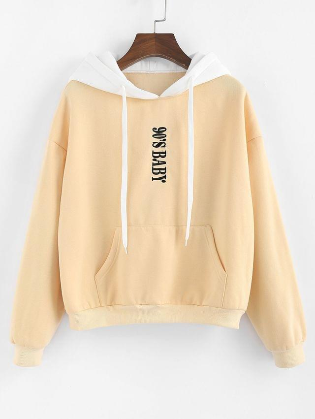 WOMEN Letter Drop Shoulder Colorblock Hoodie - Multi-a L