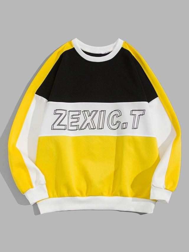MEN Color Blocking Spliced Letter Graphic Print Sweatshirt - Yellow 2xl