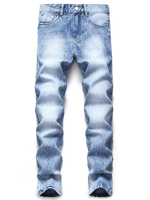 Men's Casual Zipper Fly Pocket Faded Jeans - Jeans Blue 42