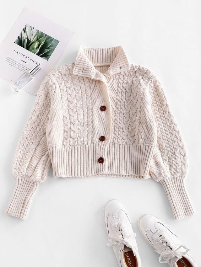 WOMEN Mock Neck Button Up Cable Knit Cardigan - White