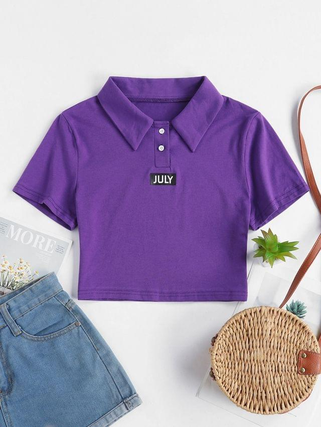 WOMEN Two Buttoned Cropped JULY Graphic Tee - Purple L