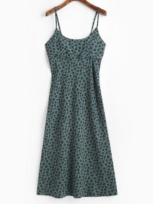 WOMEN Lace Up Back Ditsy Floral Cami Dress - Multi-a M