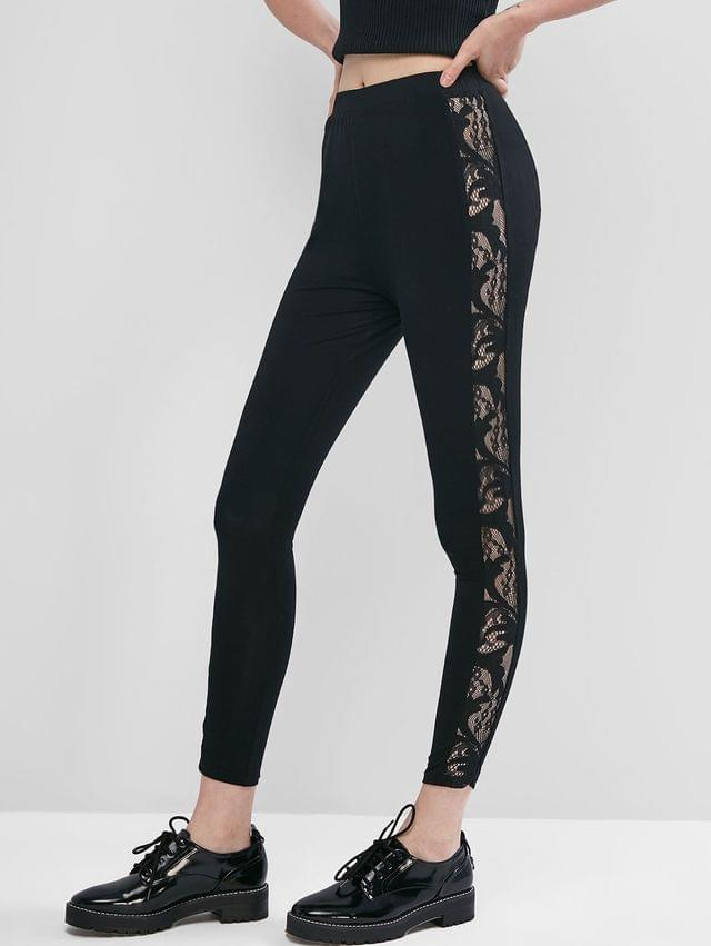 WOMEN Pull On Lace Side High Waisted Leggings - Twilight Black Xl