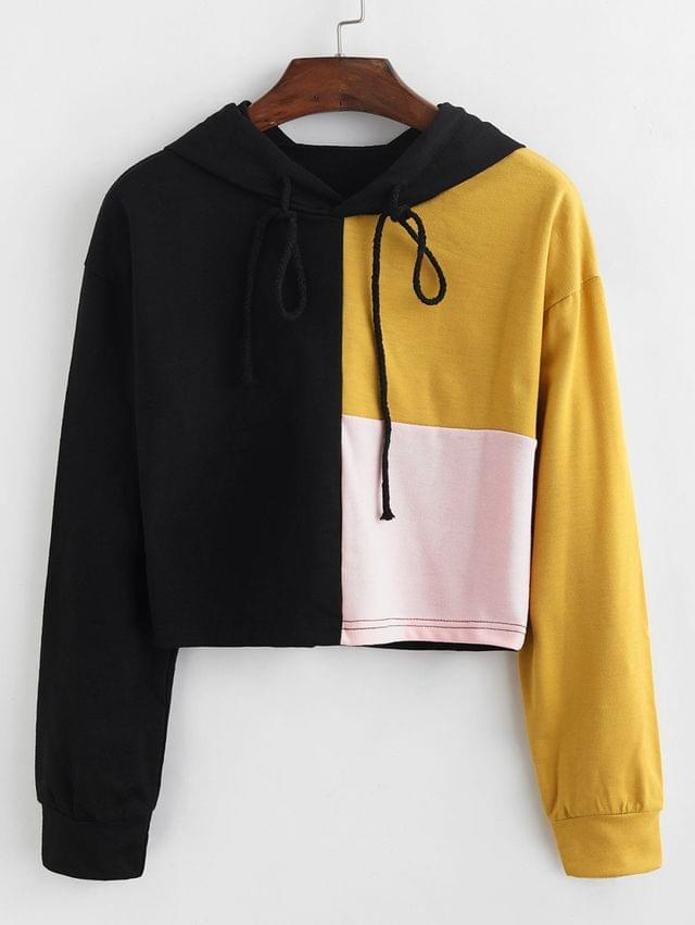 WOMEN Color-blocking Drawstring Pullover Hoodie - Multi S