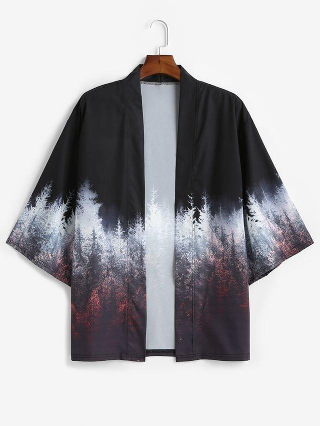 MEN Forest Painting Print Open Front Kimono Cardigan - Black 3xl