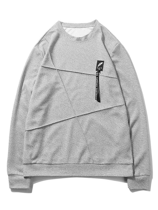 MEN Letter Print Applique Splicing Casual Sweatshirt - Gray Goose Xs