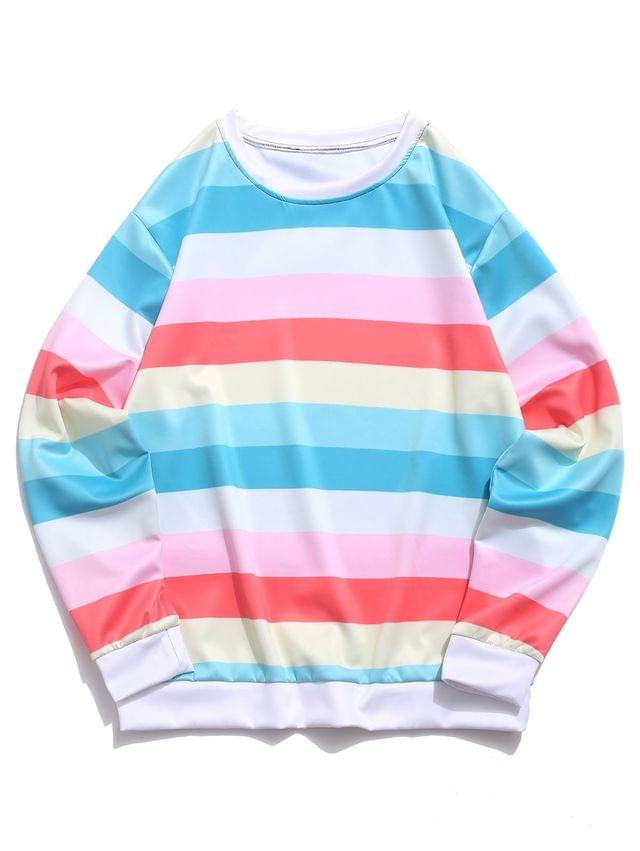 MEN Color Block Splicing Striped Casual Sweatshirt - Light Aquamarine Xl