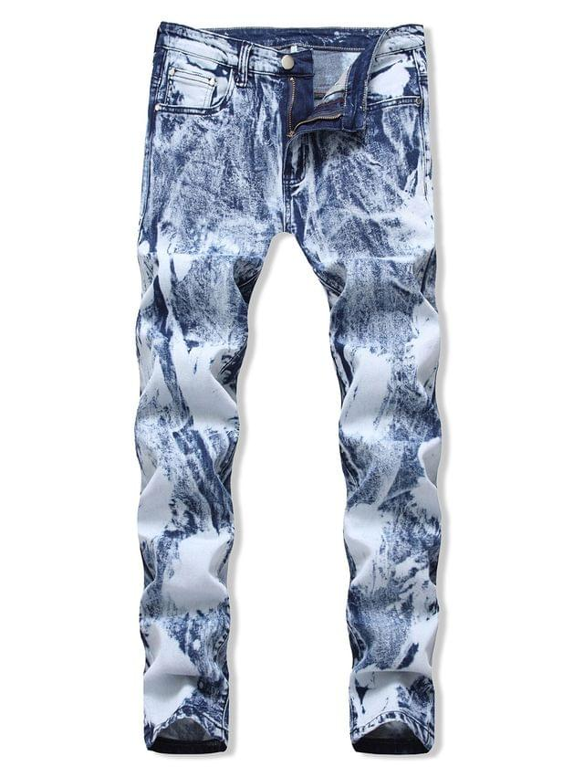 MEN Casual Printed Zip Fly Design Jeans - Light Blue 40