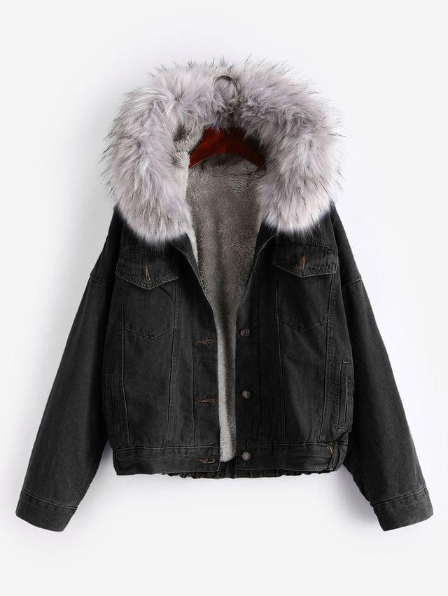 WOMEN Button Up Fluffy Hooded Denim Jacket - Black M