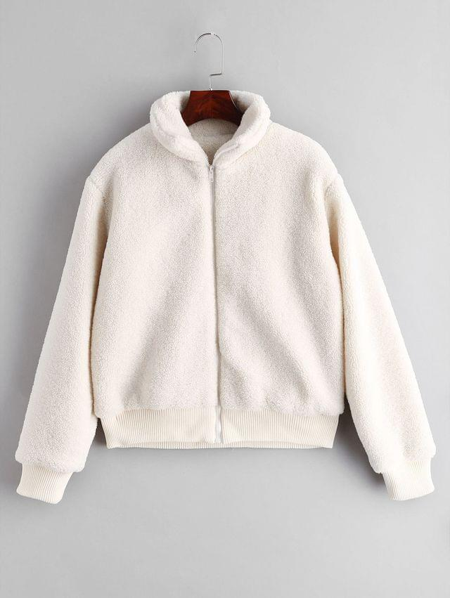 WOMEN Fluffy Short Winter Faux Shearling Coat - White Xl