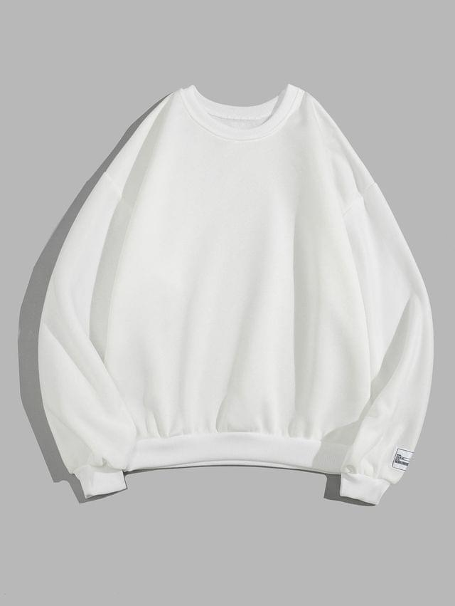 MEN Solid Color Fleece Casual Sweatshirt - White 2xl