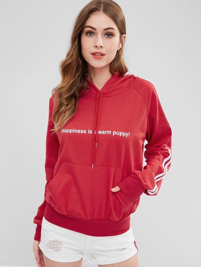 WOMEN Puppy Embroidered Stripes Graphic Hoodie - Red Xl