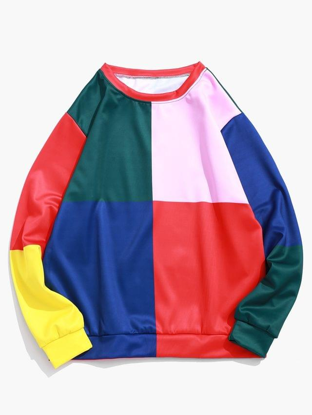 MEN Color Block Splicing Graphic Print Pullover Sweatshirt - Multi S