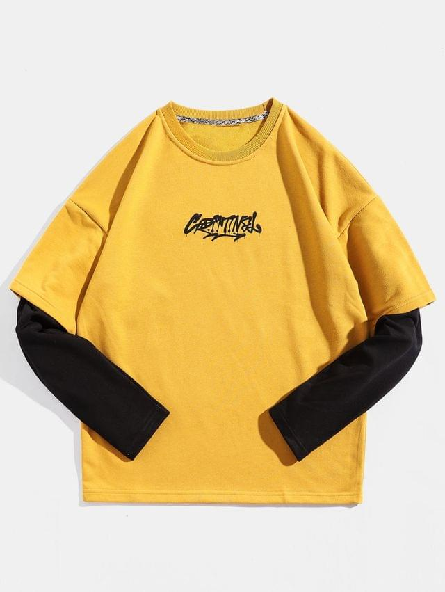 MEN Color Panel Sleeve Letter Print Pullover Sweatshirt - Yellow 2xl