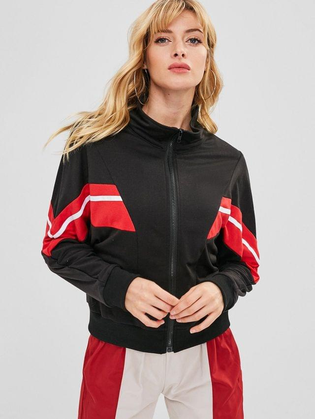 WOMEN Contrast Stripes Zip Up Jacket - Black S