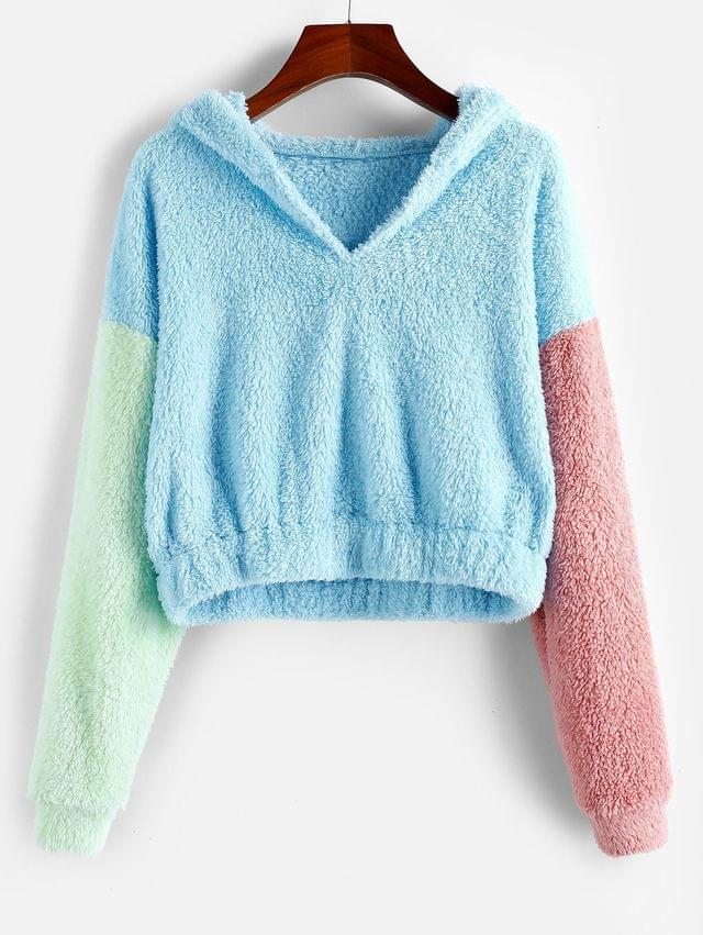 WOMEN Color-blocking Drop Shoulder Fluffy Teddy Hoodie - Multi M