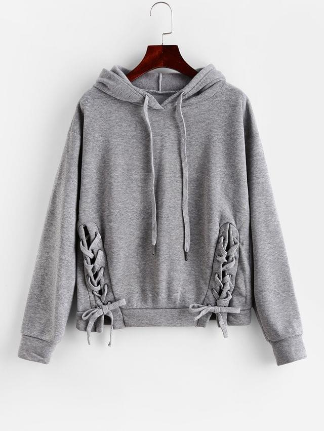 WOMEN Fleece Lined Lace Up Drawstring Pullover Hoodie - Light Gray M