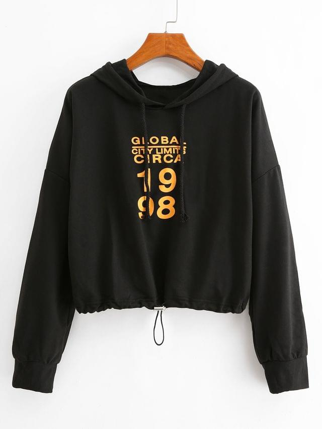 WOMEN Letter Graphic Toggle Drawstring Drop Shoulder Hoodie - Black