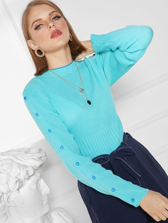WOMEN Buttoned Sleeve Crew Neck Ribbed Slim Sweater - Light Blue Xl