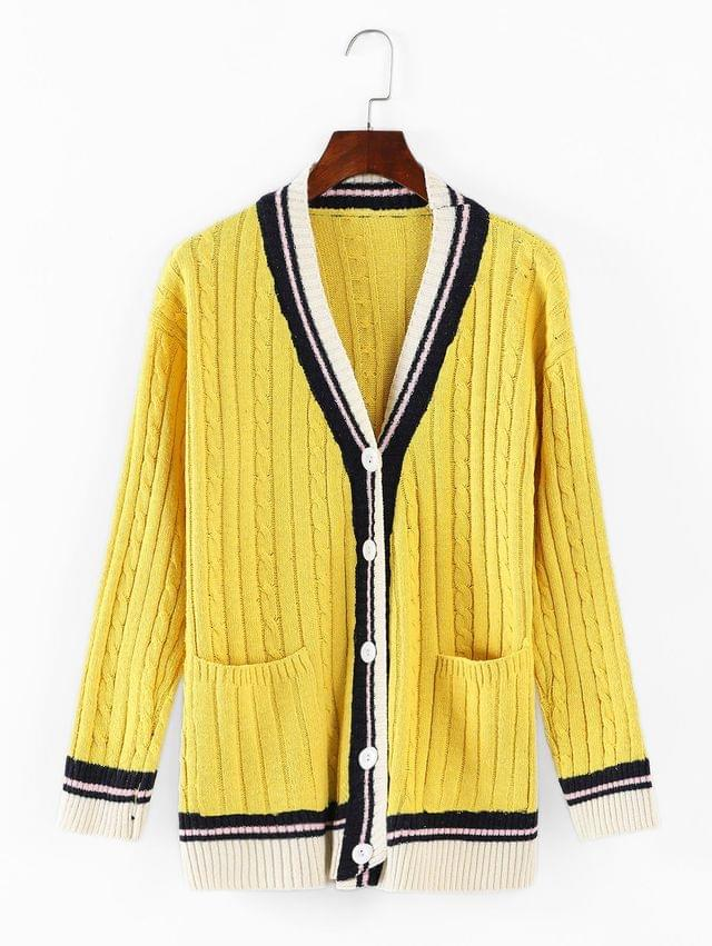 WOMEN Cable Knit Buttoned Cardigan - Yellow
