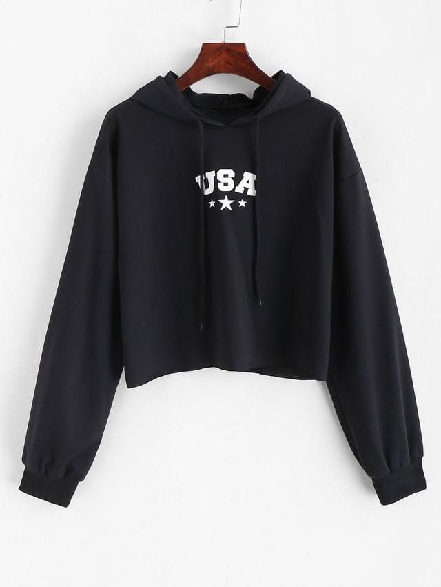 WOMEN Letter Graphic Crop Drawstring Hoodie - Black Xl