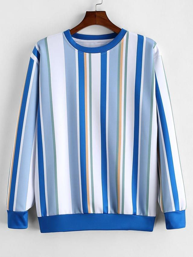 MEN Colorful Striped Print Casual Sweatshirt - Blue Gray L