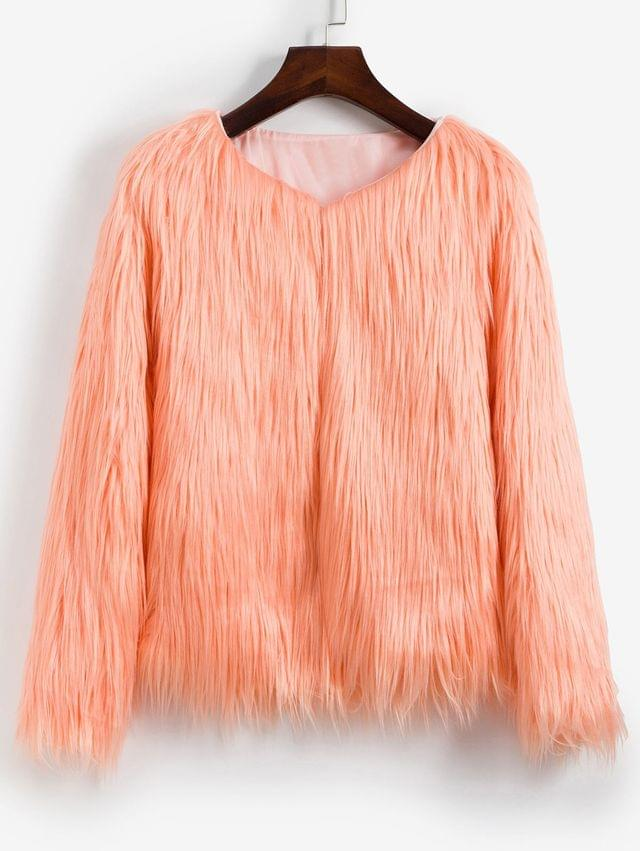 WOMEN Faux Fur Shaggy Style Plush Fluffy Coat - Deep Peach S