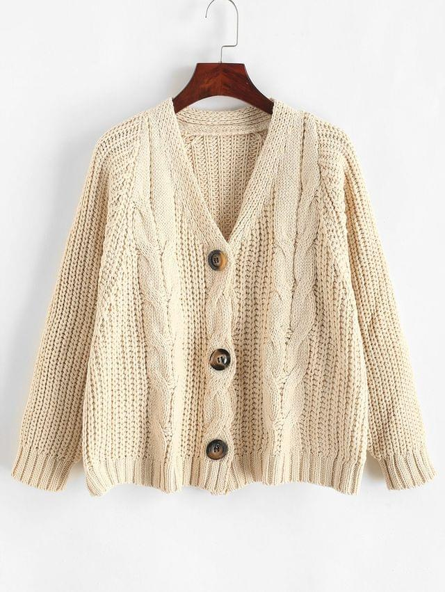 WOMEN Buttoned Cable Knit Crop Chunky Cardigan - Warm White