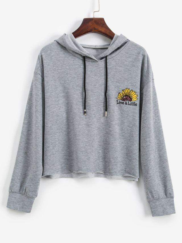 WOMEN Floral Letter Embroidered Sequined Crop Hoodie - Gray Cloud Xl