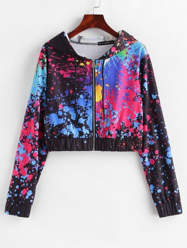 WOMEN Splatter Paint Cropped Zip Up Hoodie - Multi Xl