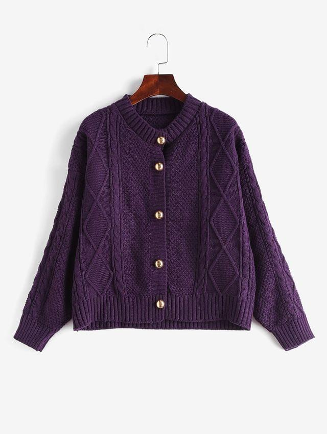 WOMEN Solid Button Up Cable Knit Cardigan - Purple
