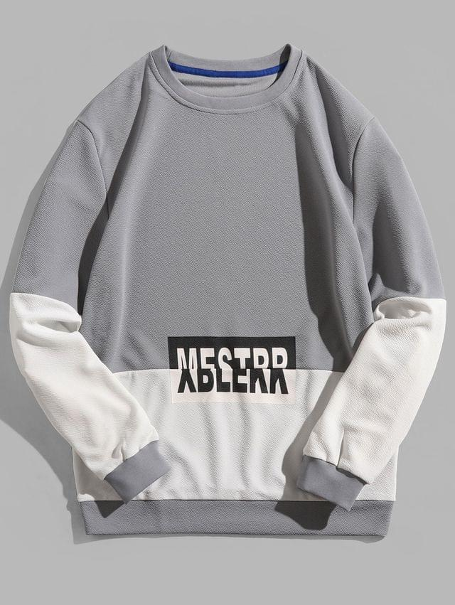 MEN Letter Print Color Block Splicing Pullover Sweatshirt - Blue Gray S
