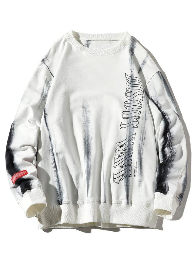 MEN Letter Ink Painting Print Applique Casual Sweatshirt - White L