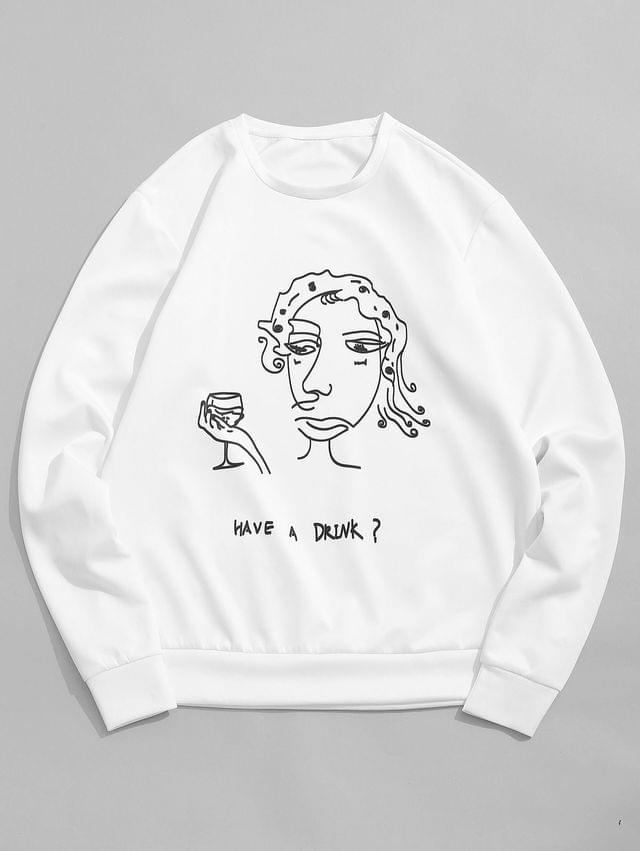 MEN Funny Cartoon Letter Print Casual Sweatshirt - White 2xl