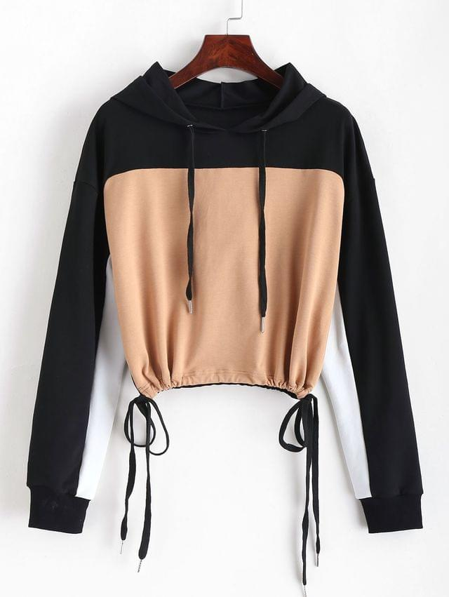 WOMEN Color Block Drawstring Cropped Hoodie - Multi Xl