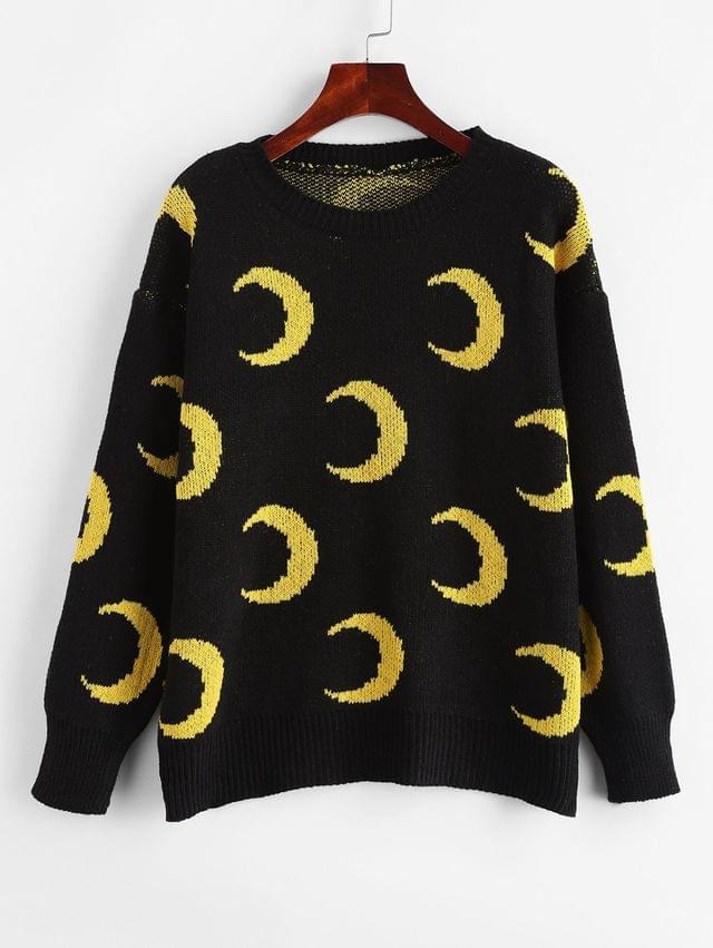 WOMEN Crew Neck Drop Shoulder Crescent Moon Sweater - Black