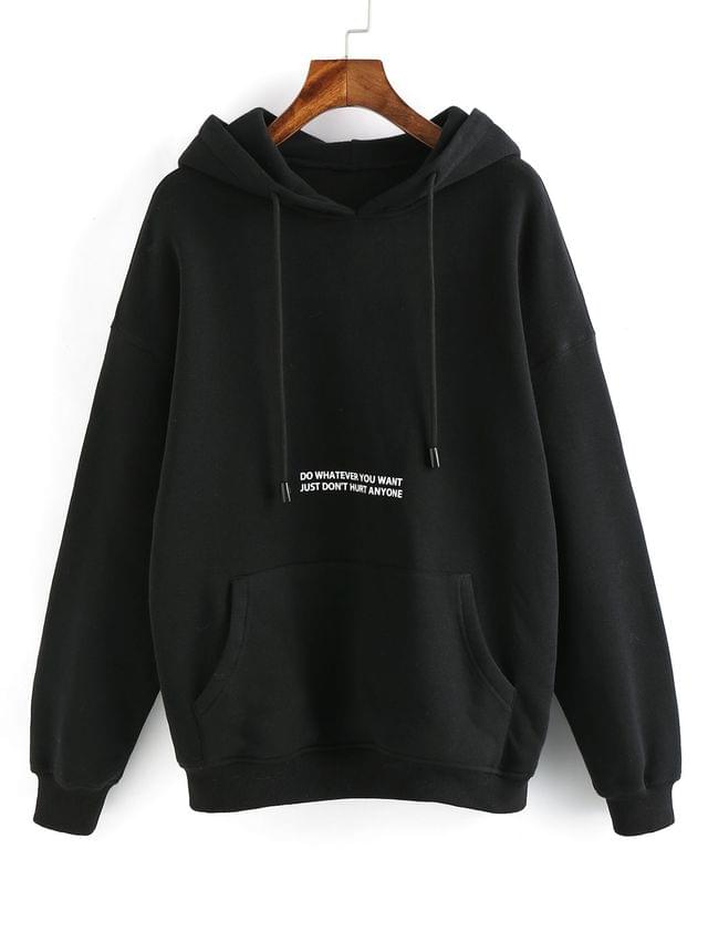 WOMEN Letter Graphic Drop Shoulder Lounge Fleece Hoodie - Black S