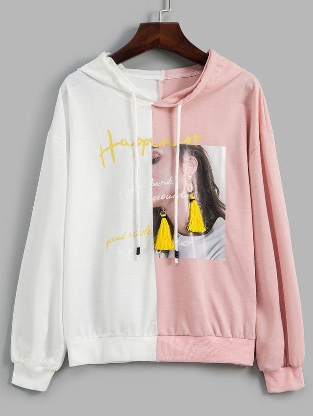 WOMEN Two Tone Graphic Tassel Drop Shoulder Hoodie - Multi-a M