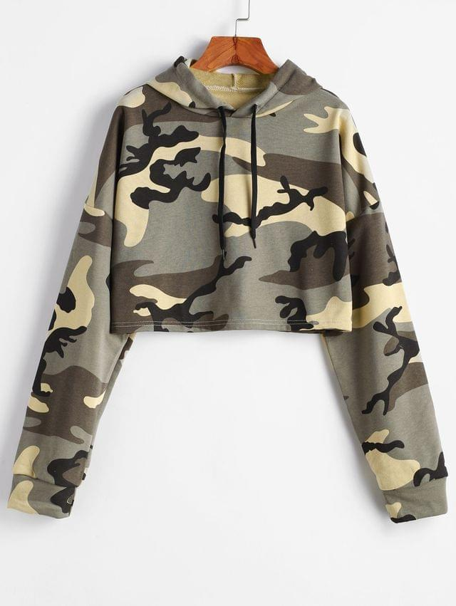 WOMEN Drawstring Drop Shoulder Camouflage Cropped Hoodie - Acu Camouflage L