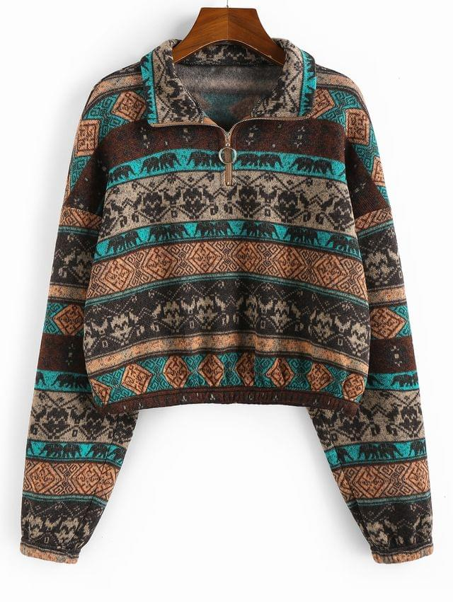 WOMEN Ethnic Elephant Geo Print Drop Shoulder Quarter Zip Hoodie - Multi-a Xl