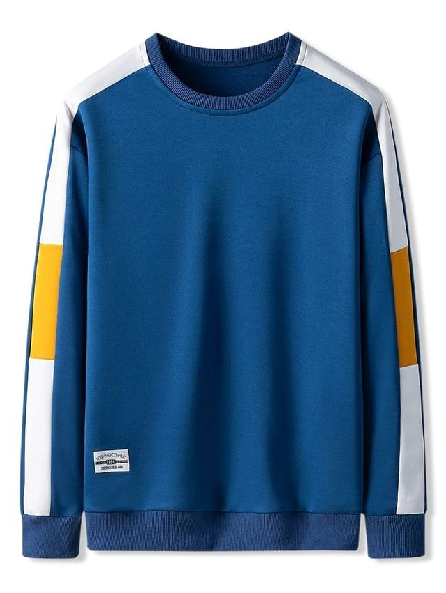 MEN Contrast Color Spliced Casual Sweatshirt - Blueberry Blue Xs
