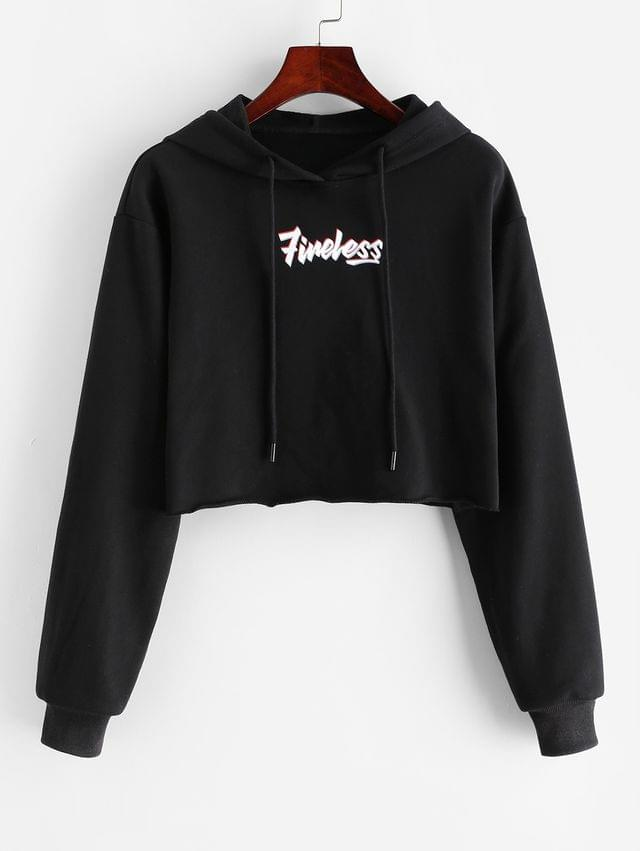 WOMEN Letter Graphic Rolled Hem Crop Hoodie - Black L