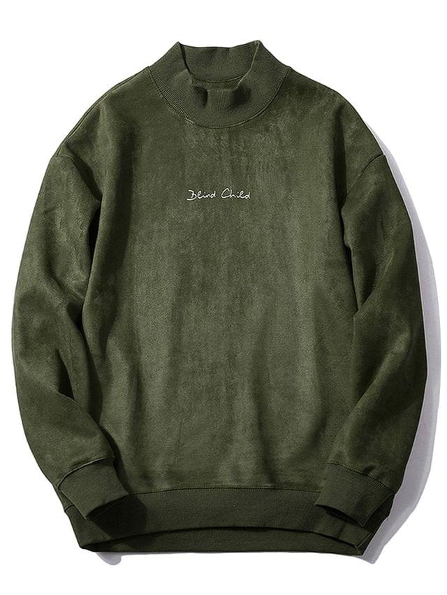 MEN Chest Letter Print Solid Color Suede Sweatshirt - Army Green L