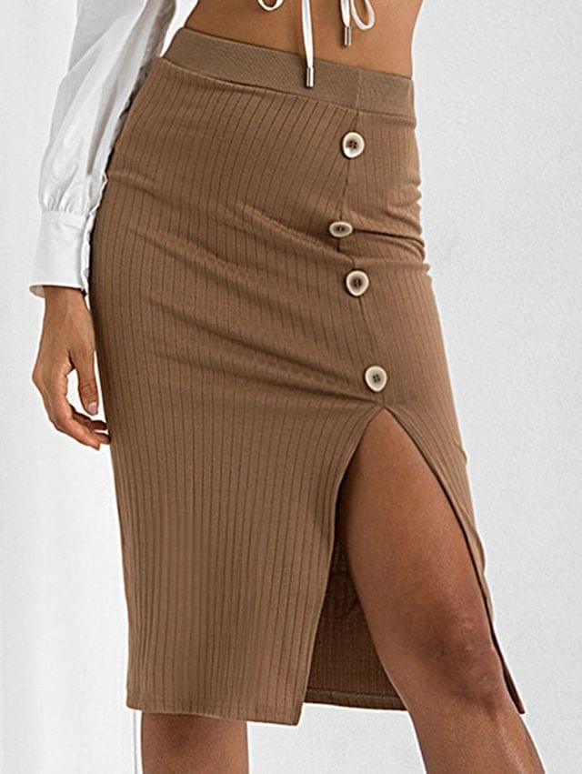 WOMEN Slit Mock Button Bodycon Knitted Skirt - Brown M