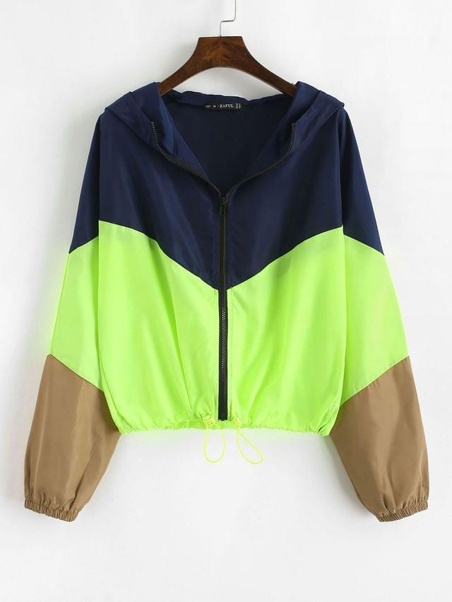 WOMEN Zip Up Neon Color Block Windbreaker Jacket - Multi Xl