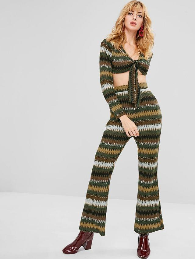 WOMEN Zigzag Knotted Top And Pants Set - Multi Xl