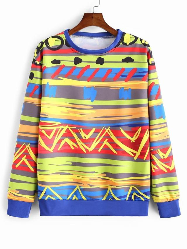 MEN Colorful Painting Printed Casual Sweatshirt - Multi-a Xl
