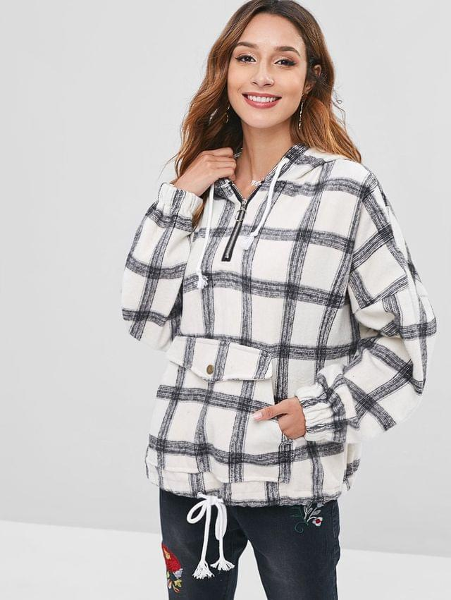 WOMEN Checked Brushed Oversized Hoodie - Multi Xl